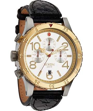 Nixon 48-20 Chronograph Leather Watch