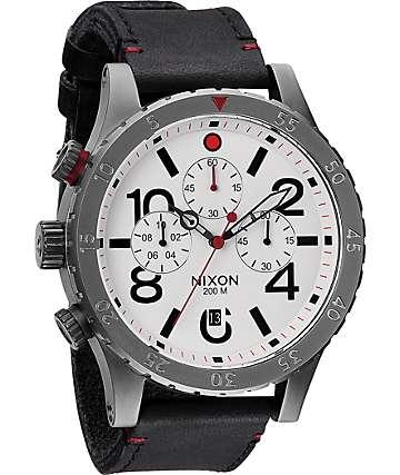 Nixon 48-20 Gunmetal & White Leather Chronograph Watch