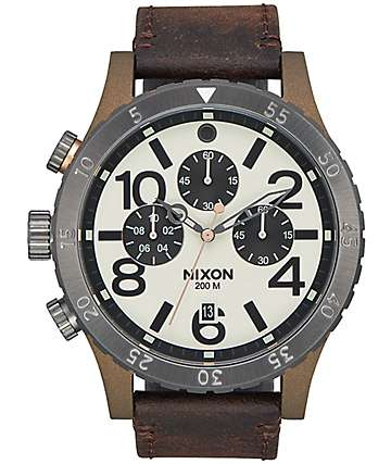 Nixon 48-20 Leather Bronze & Gunmetal Chronograph Watch