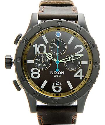 Nixon 48-20 Leather Chronograph Analog Watch