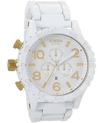 Nixon 51-30 All White & Gold Chronograph Watch