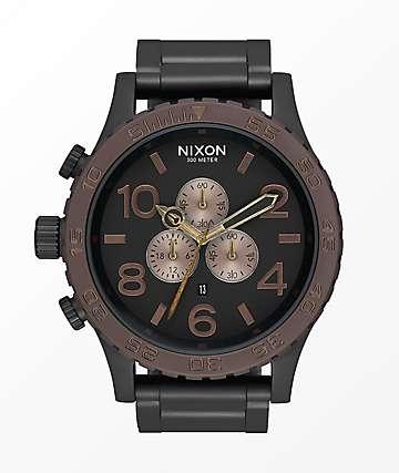 Nixon 51-30 Black, Brown & Brass Chronograph Watch