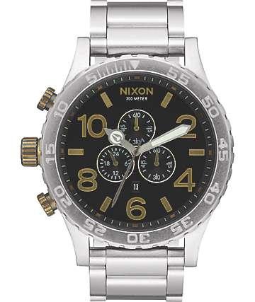 Nixon 51-30 Black & Brass Chronograph Watch