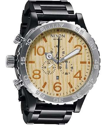 Nixon 51-30 Black Light Wood Chronograph Watch