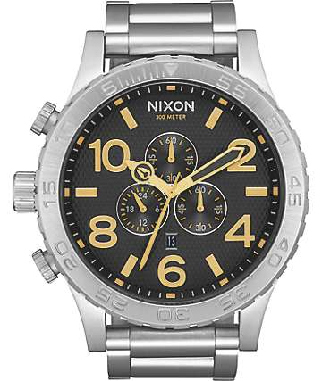 Nixon 51-30 Black Stamped & Gold Chronograph Watch