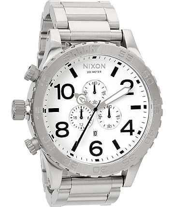 Nixon 51-30 Brushed Chrome & White Chronograph Watch