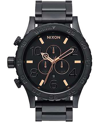 Nixon 51-30 Chrono All Black & Rose Watch