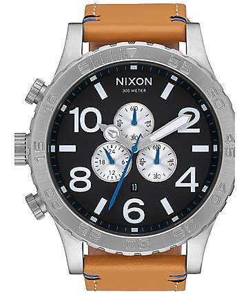 Nixon 51-30 Chrono Leather Black & Natural Watch