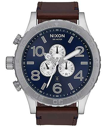 Nixon 51-30 Chrono Leather Blue & Brown