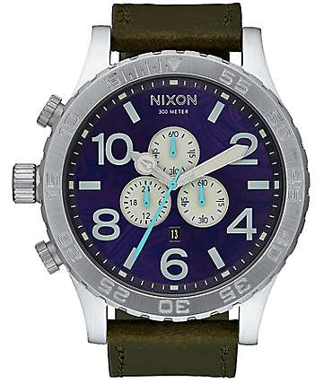 Nixon 51-30 Chrono Leather Purple & Olive Analog Watch