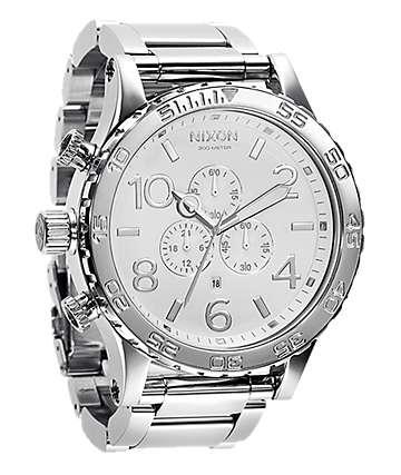 Nixon 51-30 High Polish White Chronograph Watch