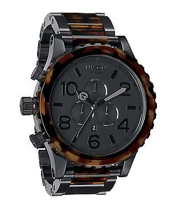 Nixon 51-30 Matte Black & Dark Tortoise Men's Chronograph Watch