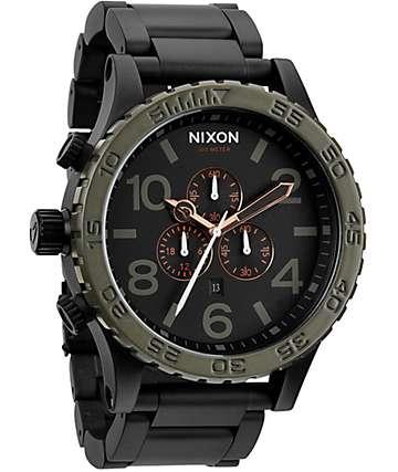 Nixon 51-30 Matte Black & Green Chronograph Watch