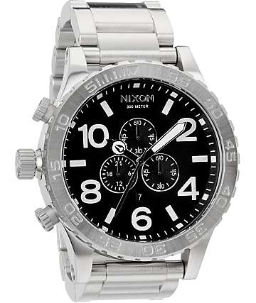 Nixon 51-30 Polish Chrome & Black Chronograph Watch