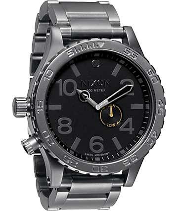 Nixon 51-30 Tide Gunmetal & Black Analog Watch