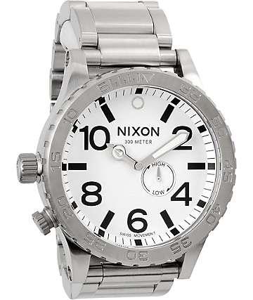 Nixon 51-30 Tide Silver & White Analog Tide Watch