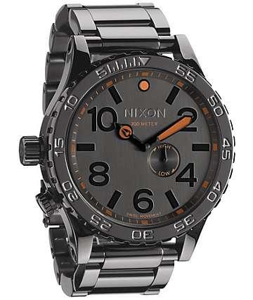 Nixon 51-30 Tide Steel Grey & Orange Analog Watch
