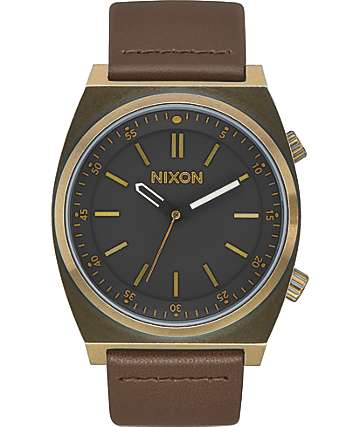 Nixon Brigade Leather Brass & Black Analog Watch