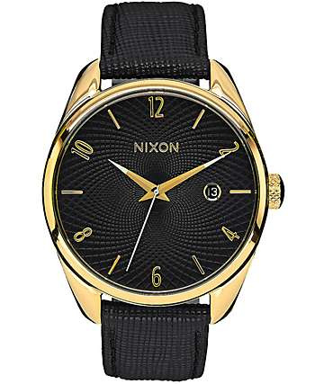 Nixon Bullet Black Leather & Gold Watch