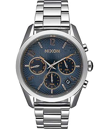 Nixon Bullet Chronograph 36 Navy, Rose Gold & Silver Watch