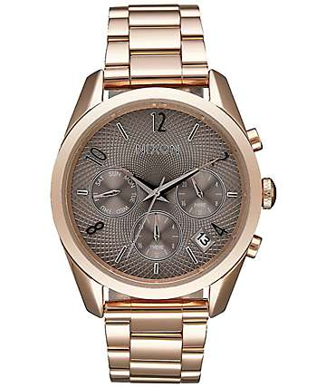 Nixon Bullet Chronograph 36 Rose Gold & Taupe Watch