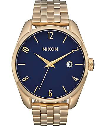 Nixon Bullet Light Gold & Navy Analog Watch