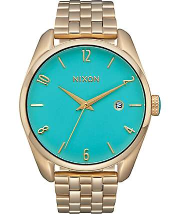 Nixon Bullet Light Gold & Turquoise Analog Watch