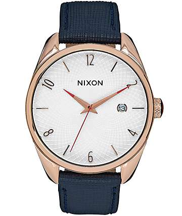 Nixon Bullet Navy Leather & Rose Gold Watch