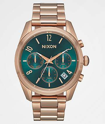 Nixon Bullet Rose Gold & Emerald Green Chronograph Watch