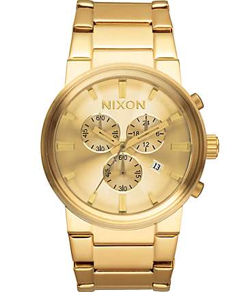 Nixon Cannon Chrono Gold Watch