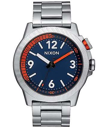 Nixon Cardiff Sport SS Silver & Navy Analog Watch