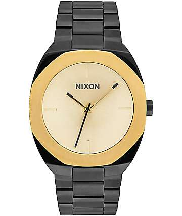 Nixon Catalyst reloj analógico en negro y color oro