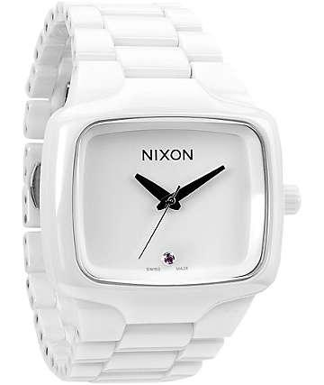Nixon Ceramic Player All White Analog Watch
