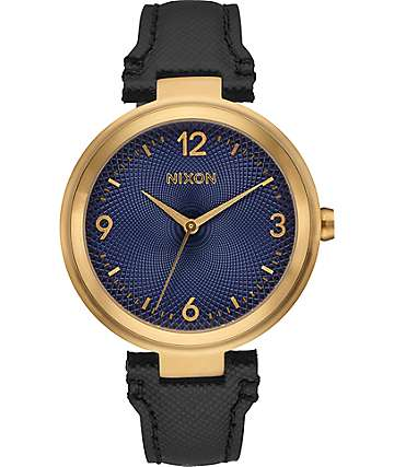 Nixon Chameleon Leather Black, Gold & Navy Watch