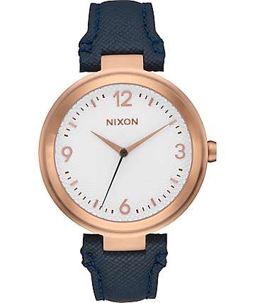 Nixon Chameleon Leather Navy, White & Rose Gold Watch