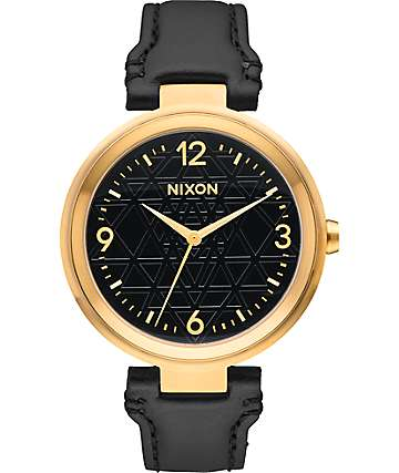 Nixon Chameleon Leather Sacred Geo Gold & Black Watch