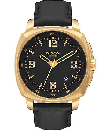 Nixon Charger Leather Gold & Black Watch