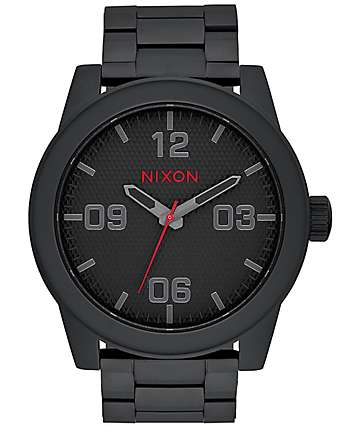 Nixon Corporal All Black Stamped Analog Watch