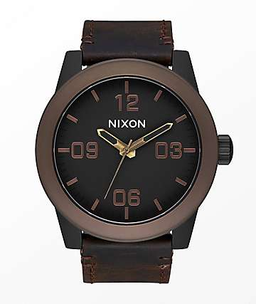 Nixon Corporal Black, Brown & Brass Analog Watch