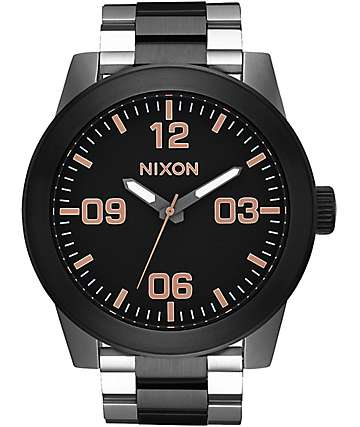 Nixon Corporal Black & Gold Analog Watch