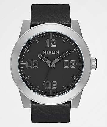 Nixon Corporal Leather Black, Gunmetal & Black Watch