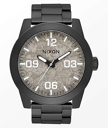 Nixon Corporal SS Black & Concrete Analog Watch