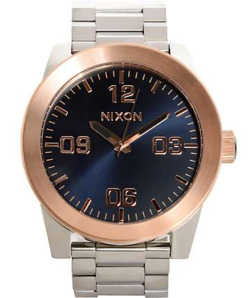 Nixon Corporal SS Navy & Rose Gold Watch