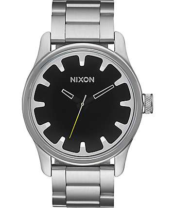 Nixon Driver Silver & Black Watch