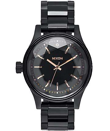 Nixon Facet 38 All Black & Rose Gold Watch