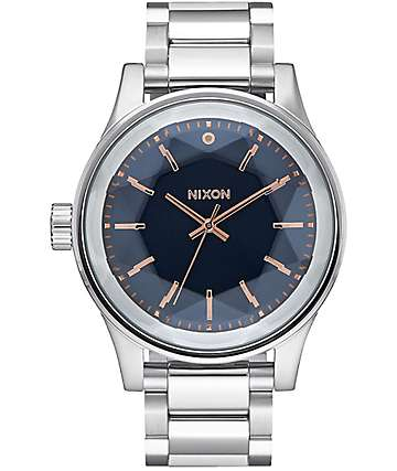 Nixon Facet Silver, Navy & Rose Gold Watch