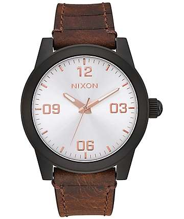 Nixon G.I. Leather Black, Silver & Brown Watch
