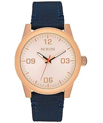 Nixon G.I. Nylon Rose Gold & Navy Analog Watch