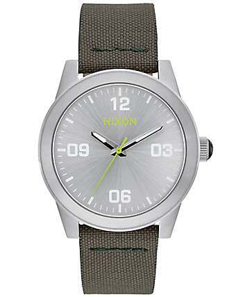 Nixon G.I. Nylon Silver & Surplus Analog Watch