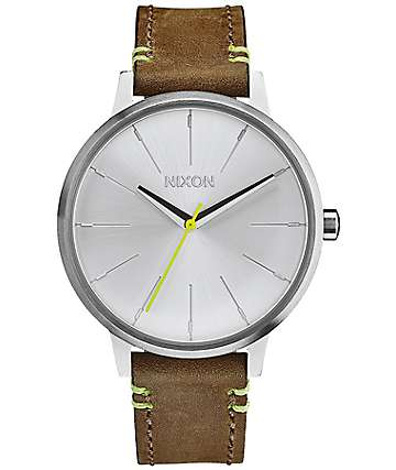 Nixon Kensington Leather Brown & Lime Analog Watch